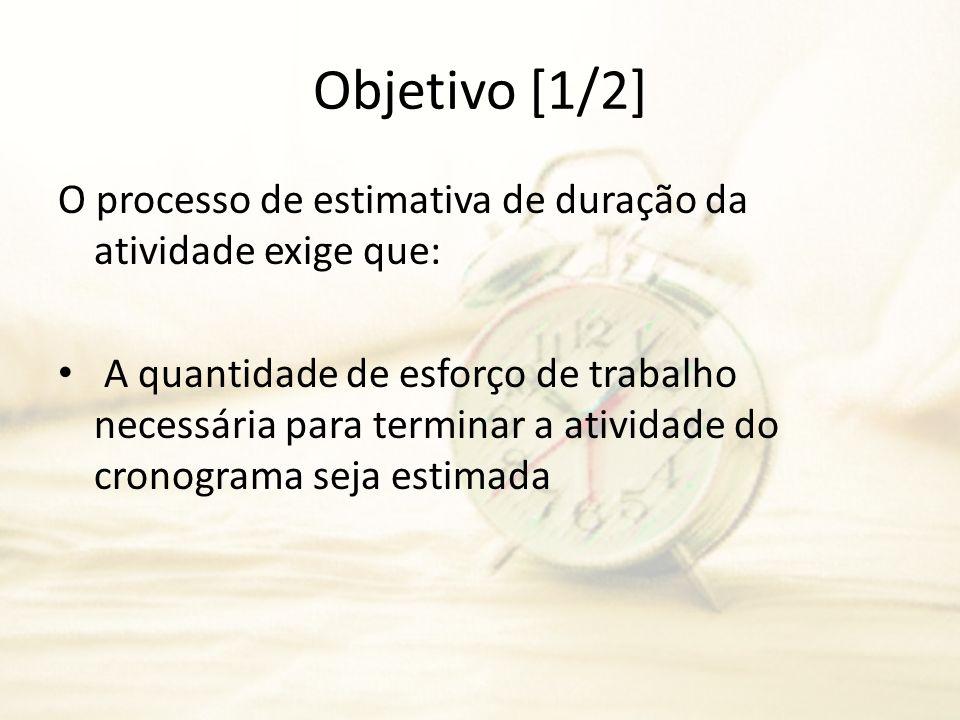 Objetivo [1/2] O processo de estimativa de duração da atividade exige que: